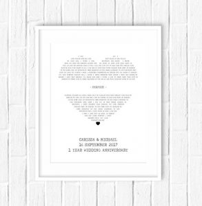 Personalized Song Lyrics anniversary gifts